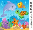 Image with undersea theme 2 - vector illustration. - stock photo