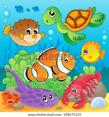 Image with undersea theme 6 - vector illustration. - stock vector