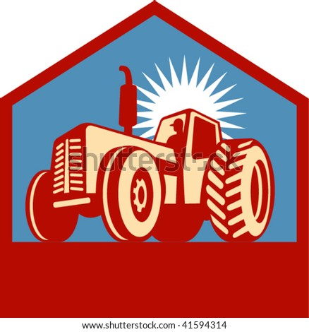 Imagery shows a retro styled tractor silhouette viewed form a low angle enclosed in a chevron. Done in three (3) colors. - stock vector