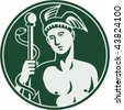 Imagery shows Greek God Hermes holding a caduceus enclosed in a circle. - stock photo
