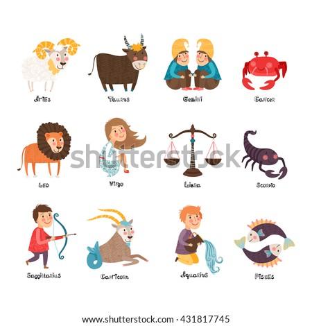 Images of zodiac signs: Aries, Taurus, Gemini, Cancer, Leo, Virgo, Libra, Scorpio, Sagittarius, Capricorn, Aquarius, Pisces - stock vector
