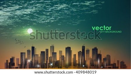 Imaginable city landscape at night, in moonlight. - stock vector