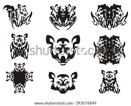 Imaginary animal head and symbols from it. Tribal imaginary head of an animal with wings, the head of a raccoon, a cross and other double symbols - stock vector