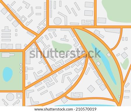 Imaginary City Map - stock vector