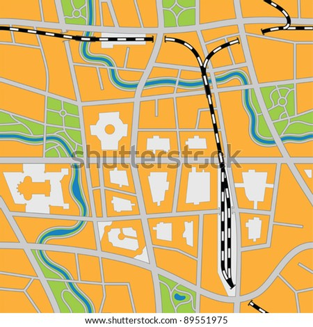Imaginary city map (seamless vector image)