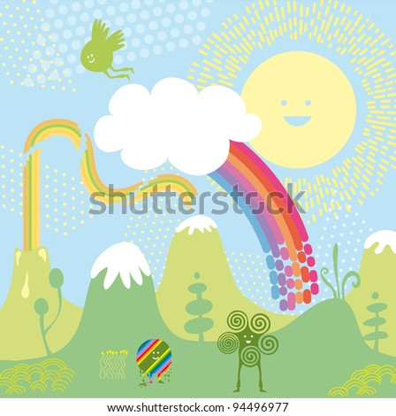 Imaginary landscape with happy characters and elements - stock vector