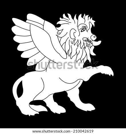 Imaginary lion with wings - stock vector
