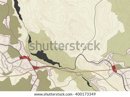 imaginary vector map of the village - stock vector