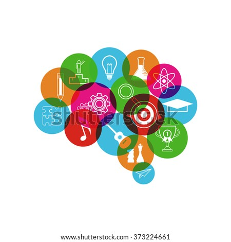 imagination brain concept, isolated on white background - stock vector