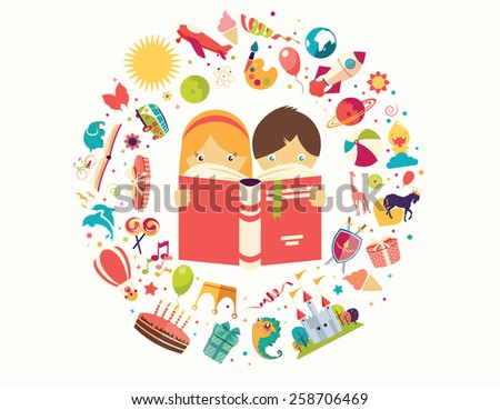 Imagination concept, boy and girl reading a book objects flying out, vector illustration - stock vector