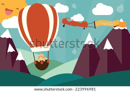 Imagination concept - girl in air balloon, airplane with imagination banner flying - stock vector