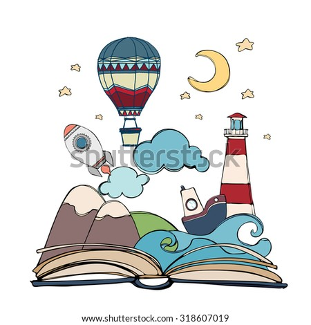 Imagination concept - open book with rocket, mountain, moon and stars, cloud, boat, wave, lighthouse, air balloon. vector illustration - stock vector