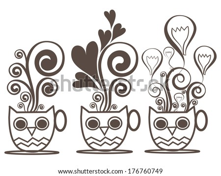 imagination owl with cup of coffee icons - stock vector