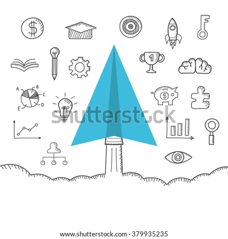 imagination paper plan with drawing icon, business concept, isolated on white background