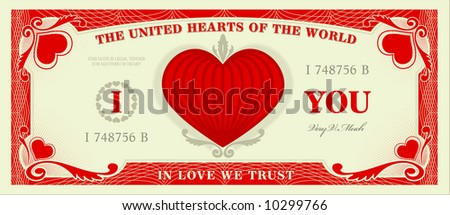 Imagine a world where love is currency... - stock vector