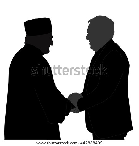 imam, an Islamic priest shaking hands with friends, silhouette - vector - stock vector