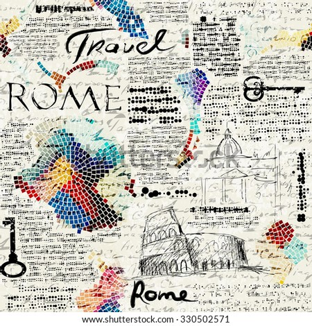 Imitation of retro newspaper background Rome travel. Seamless pattern. - stock vector