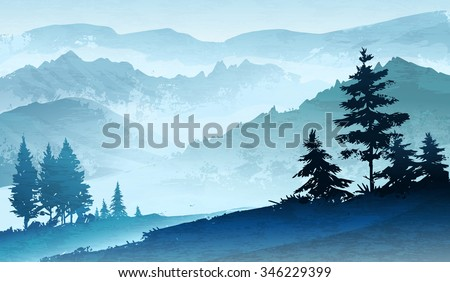 Imitations of watercolor illustration. Mountains landscape, trees, sky. - stock vector