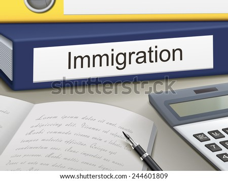 immigration binders isolated on the office table - stock vector