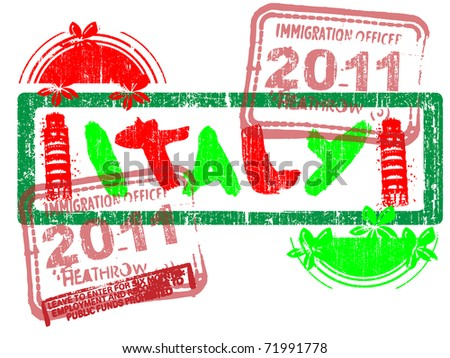 Immigration Stamp - Italy - Vector Graphic - stock vector