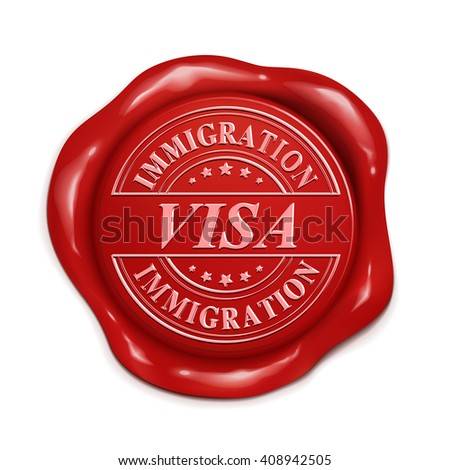 immigration visa 3d illustration red wax seal over white background - stock vector