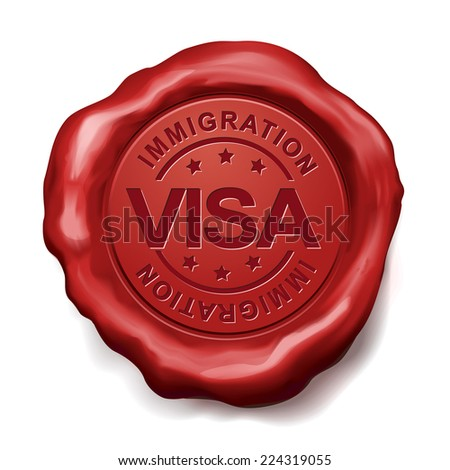 immigration visa red wax seal over white background - stock vector