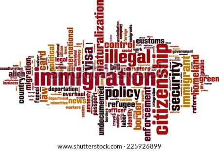 Immigration word cloud concept. Vector illustration - stock vector
