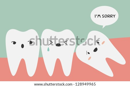 impacted tooth - stock vector