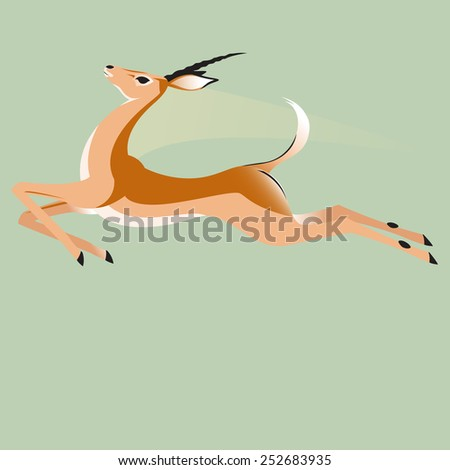 Impala leaping in the air - stock vector