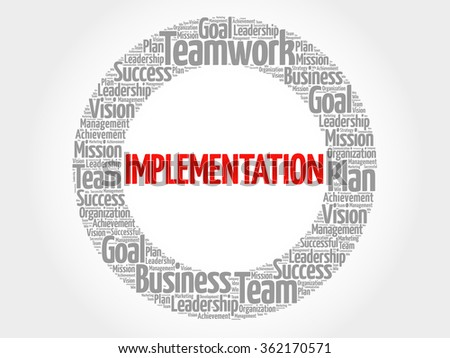 Implementation circle word cloud, business concept - stock vector