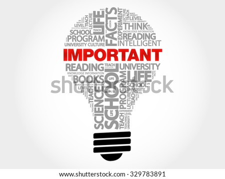IMPORTANT bulb word cloud, business concept - stock vector