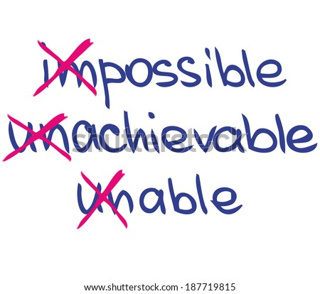 Impossible achievable unable - stock vector