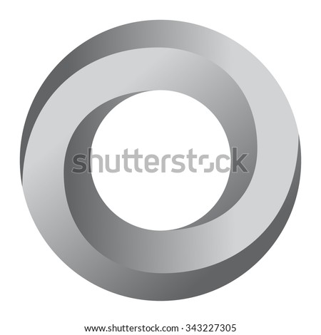 Impossible Circle Sign. Abstract Design, Impossible Object. Logo Template. Vector Illustration.