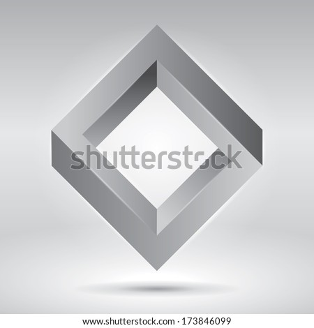 Impossible figure, vector rhombus, abstract vector objects - stock vector