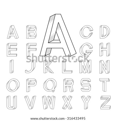 Impossible font set from A to Z with big initial A. - stock vector