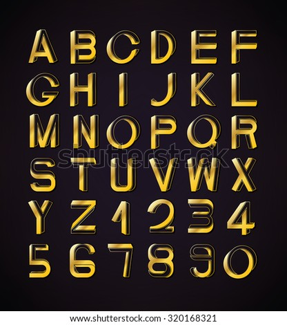 Impossible font set, including numerals. Golden gradients with thin lines.