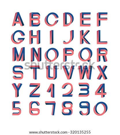 Impossible font set, including numerals. Red and blue gradients, white striped edges. - stock vector