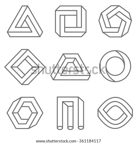 impossible geometric shapes linear outline style stock vector 361184117 shutterstock. Black Bedroom Furniture Sets. Home Design Ideas
