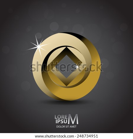 Impossible looped circle and square vector logo template. Luxury symbol - stock vector
