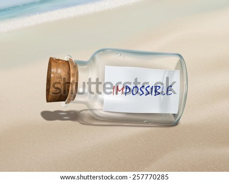 impossible message in a bottle isolated on beautiful beach - stock vector