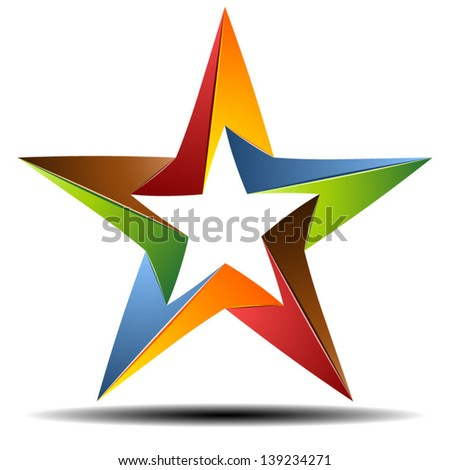 Impossible origami star - stock vector