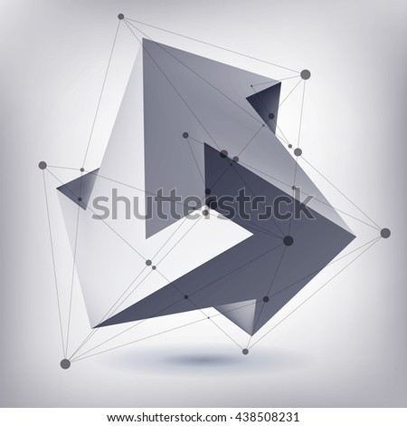 Impossible shape, unreal arrows, 3 arrows vector, crystal, 3D low polygon geometry, abstract vector object, mesh version, lines and points   - stock vector