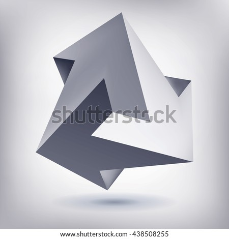 Impossible shape, unreal arrows, 3 arrows vector, crystal, 3D low polygon geometry, abstract vector object, mesh version   - stock vector