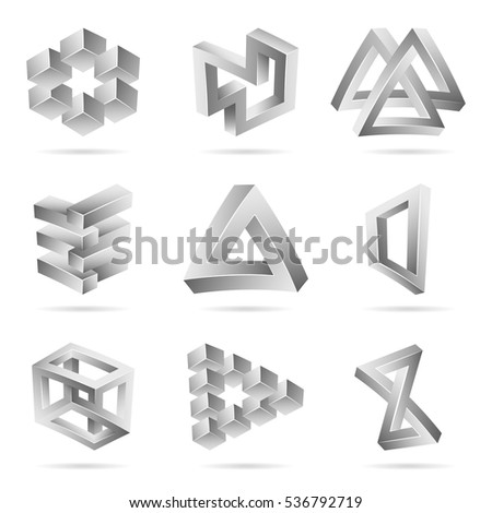 Impossible Shapes Set. Trendy Creative Figure With Optical Illusion. Paradox Elements. Unreal Geometrical Symbols In A Surreal Style. Vector Illustration