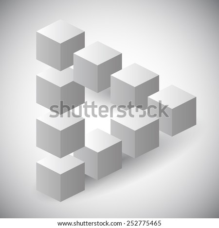Impossible triangle made with cubes, geometrical shape - stock vector