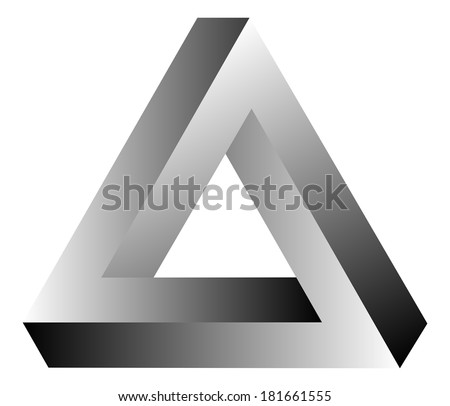 Impossible Triangle Of Tribar Optical Illusion - stock vector