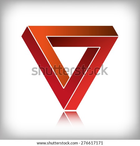 Impossible triangle, optical illusion. EPS10 vector format - stock vector
