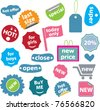 impressionist stickers, icons, signs, vector illustrations - stock vector