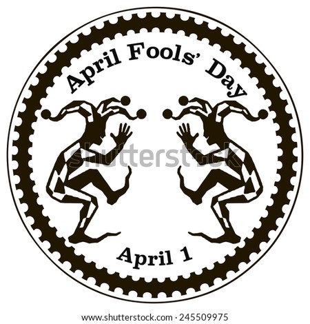 Imprint rubber stamp dedicated to the holiday April Fools' Day. Vector illustration. - stock vector