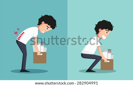 Improper versus against proper lifting ,illustration,vector - stock vector